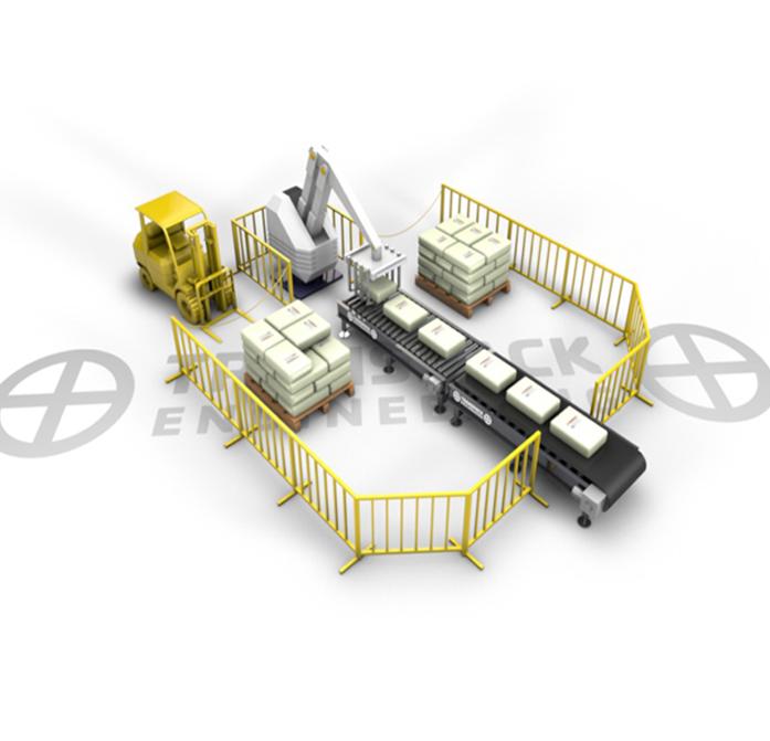 Робот паллетизатор. Один вход, два выхода, укладка на пол схема 2-2